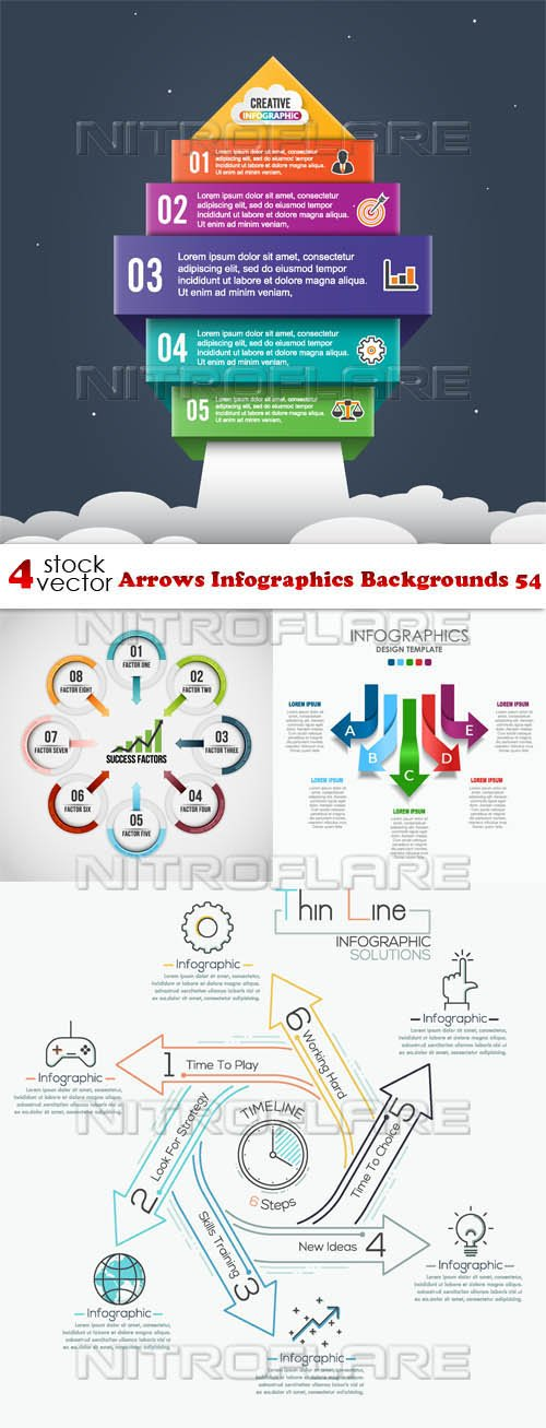 Vectors - Arrows Infographics Backgrounds 54