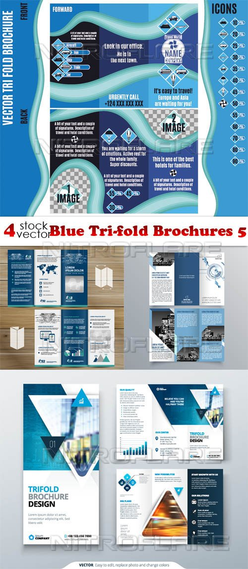 Vectors - Blue Tri-fold Brochures 5