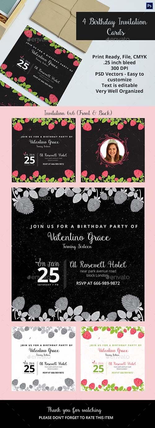 4 Birthday Invitation Cards