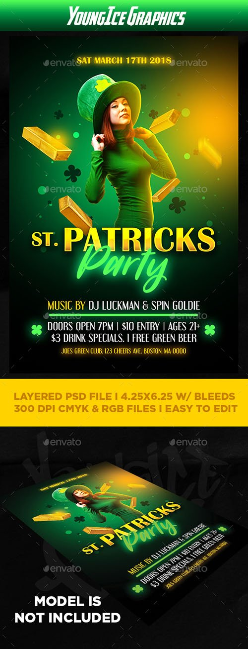 GR - St Patricks Party Flyer Template 21494780
