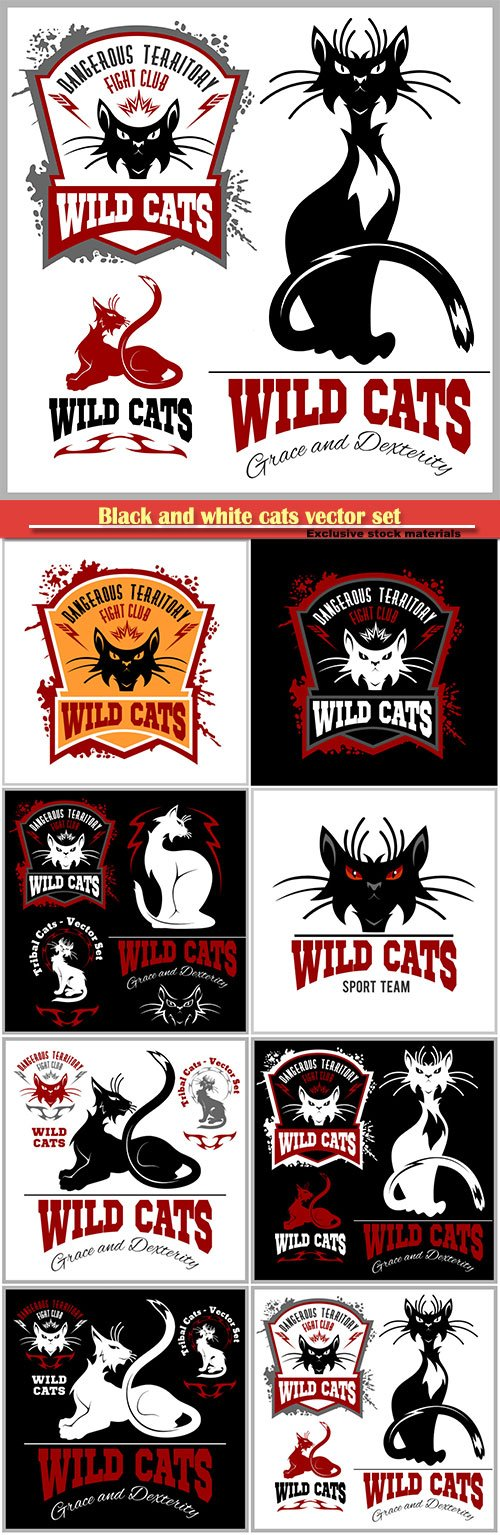 Black and white cats vector set, logo and tattoo vector illustration