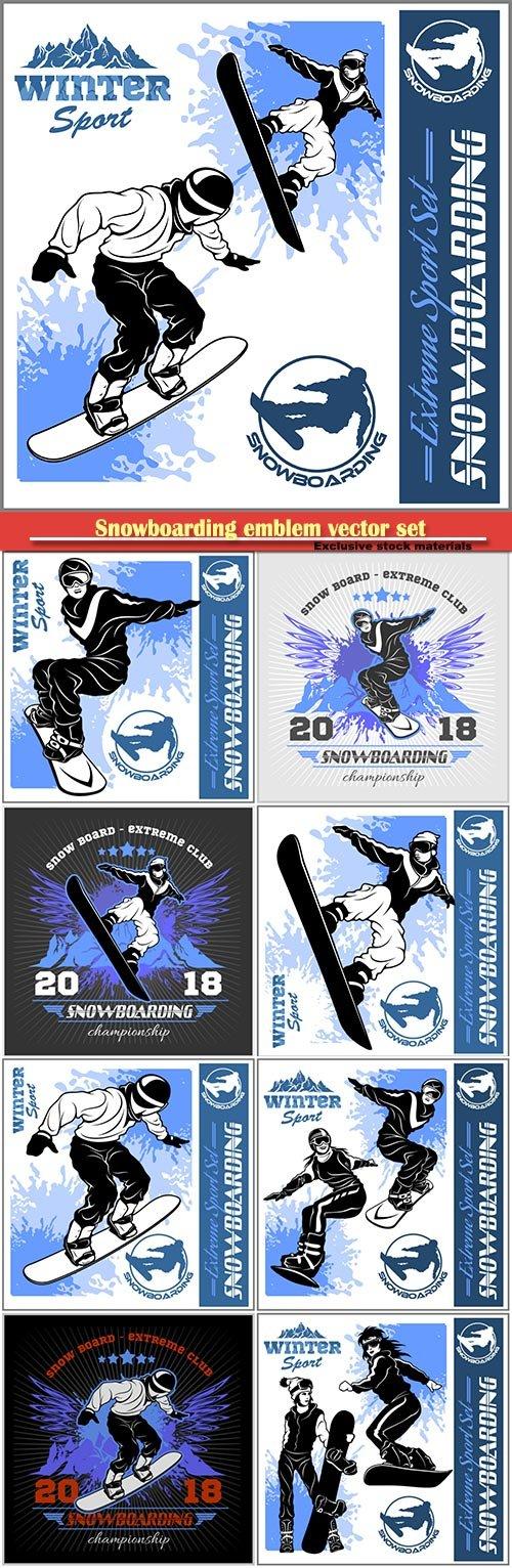 Snowboarding emblem vector set