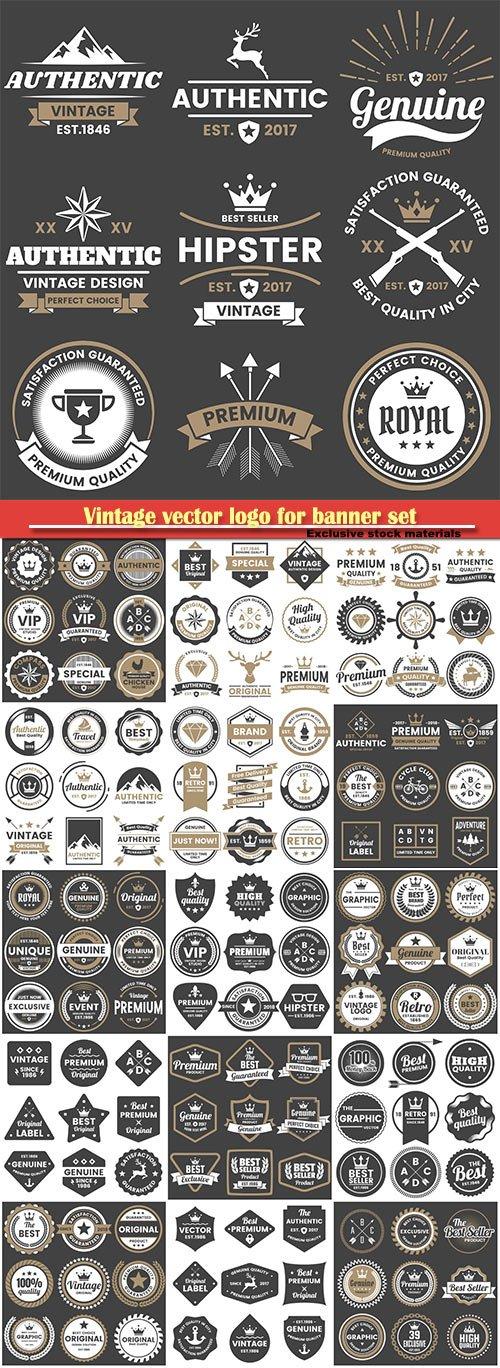 Vintage vector logo for banner set illustration template