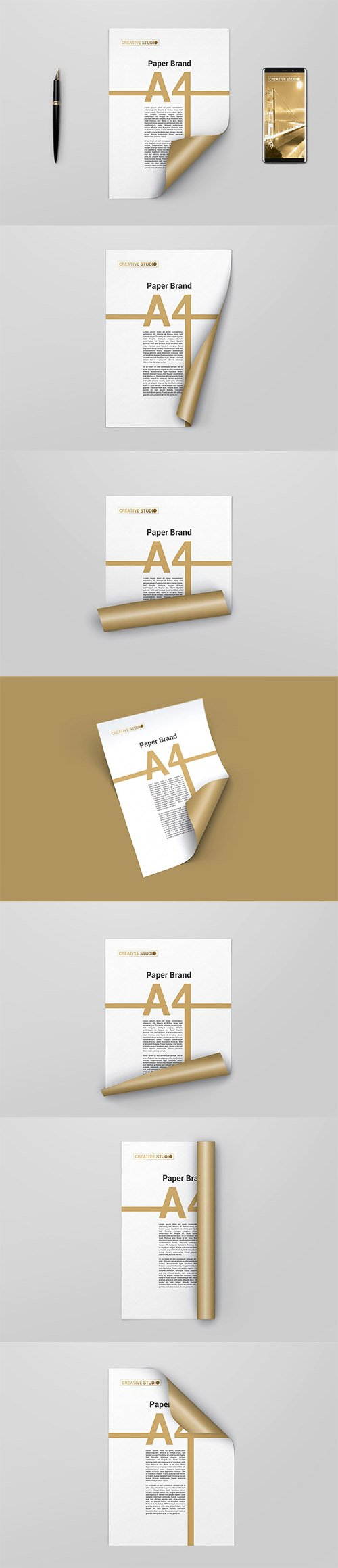 A4 Curled Paper Mockups