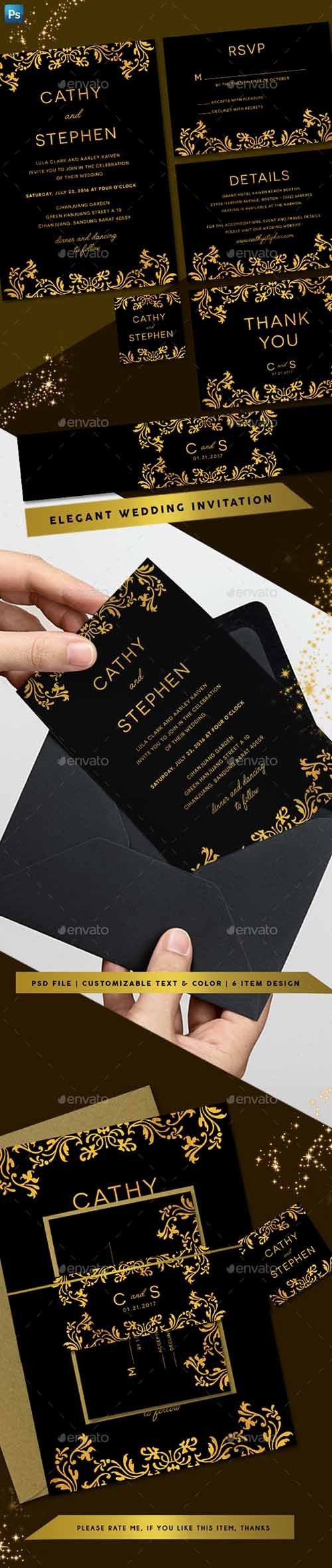 Elegant Gold Wedding Invitation 20505585