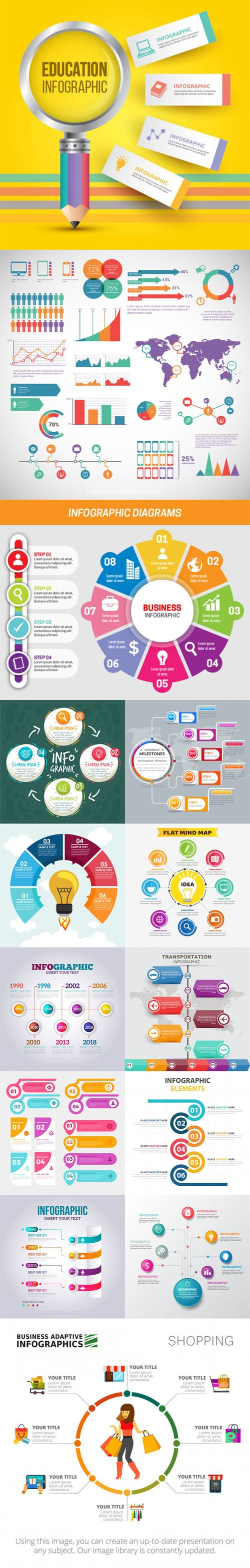 14 Infographic Templates Pack Design Vector