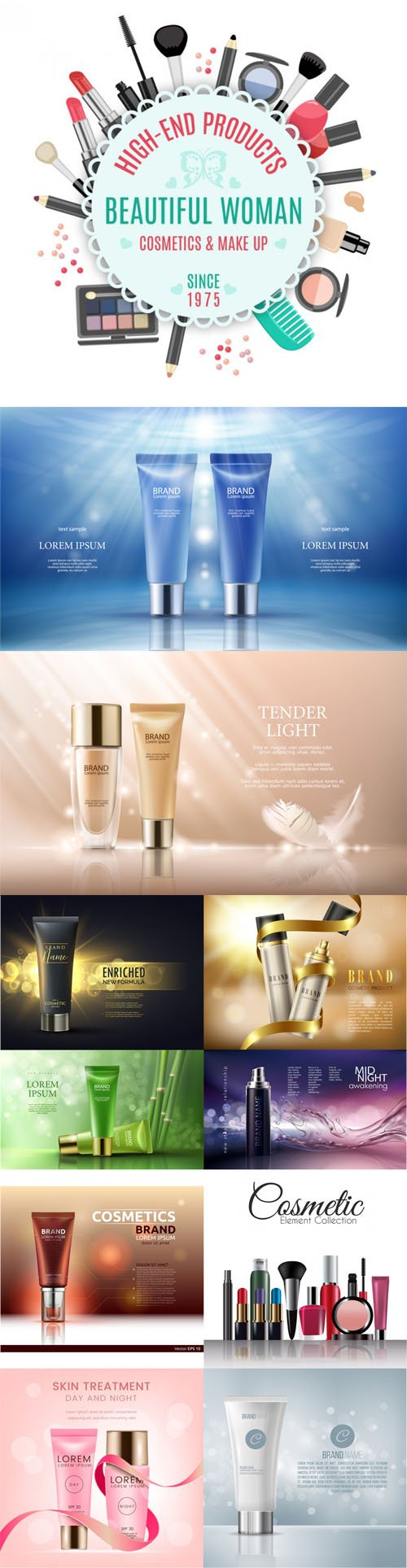 11 Realistic Cosmetic Brand Templates Vector