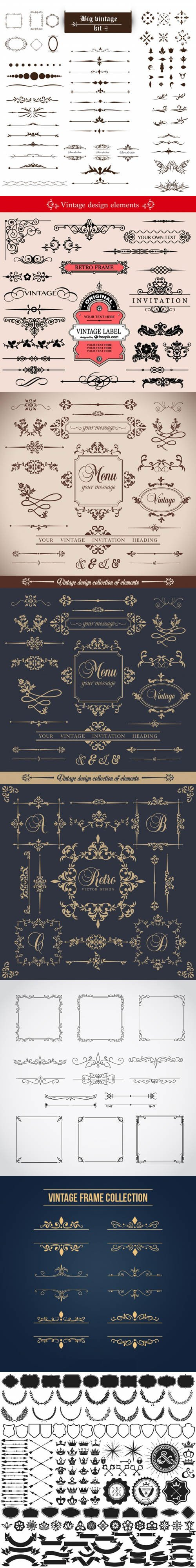 Design Collection of Ornamental Elements Vector
