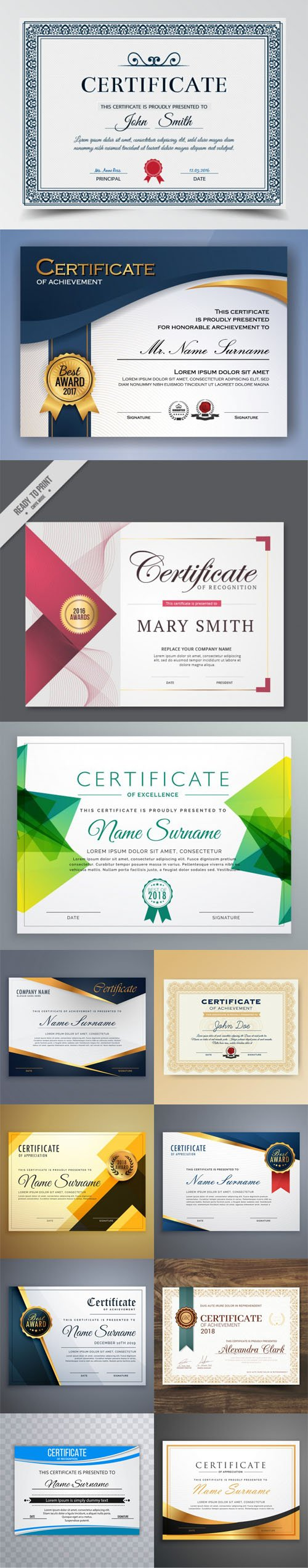12 Certificate & Diploma Templates Design Vector