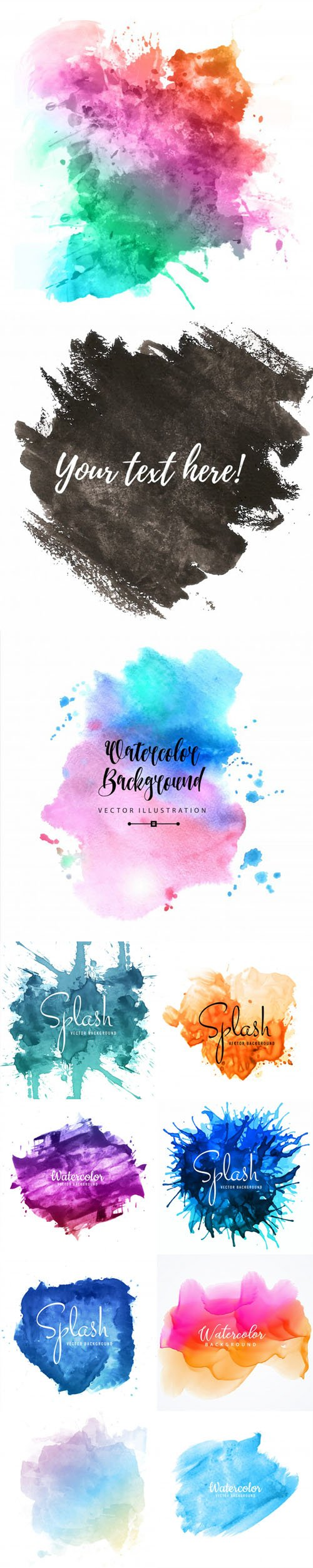 11 Splash & Watercolor Brush Stroke Designs Vector