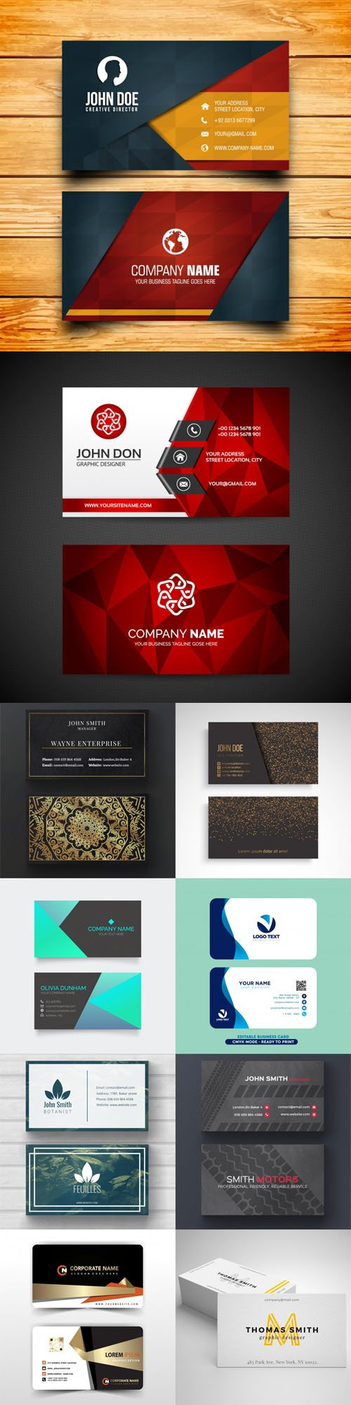 10 Modern Professional Business Cards Templates in [EPS/PSD]