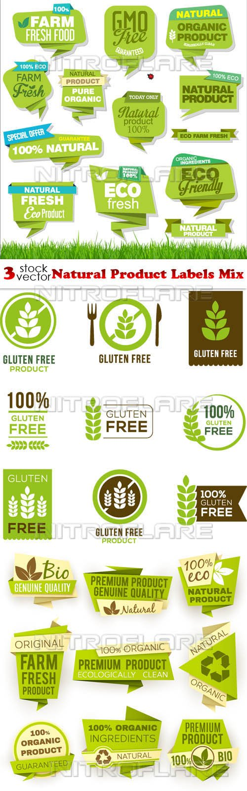 Vectors - Natural Product Labels Mix