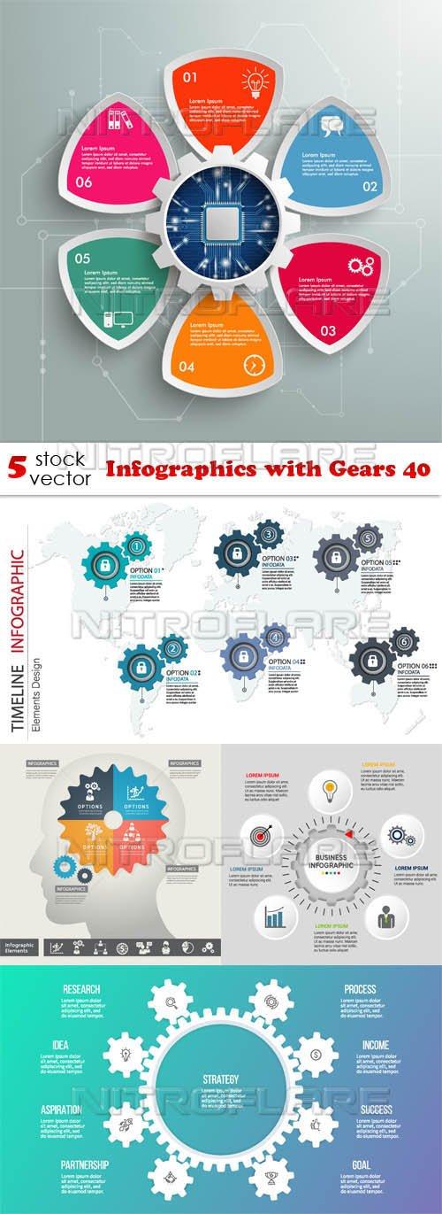Vectors - Infographics with Gears 40
