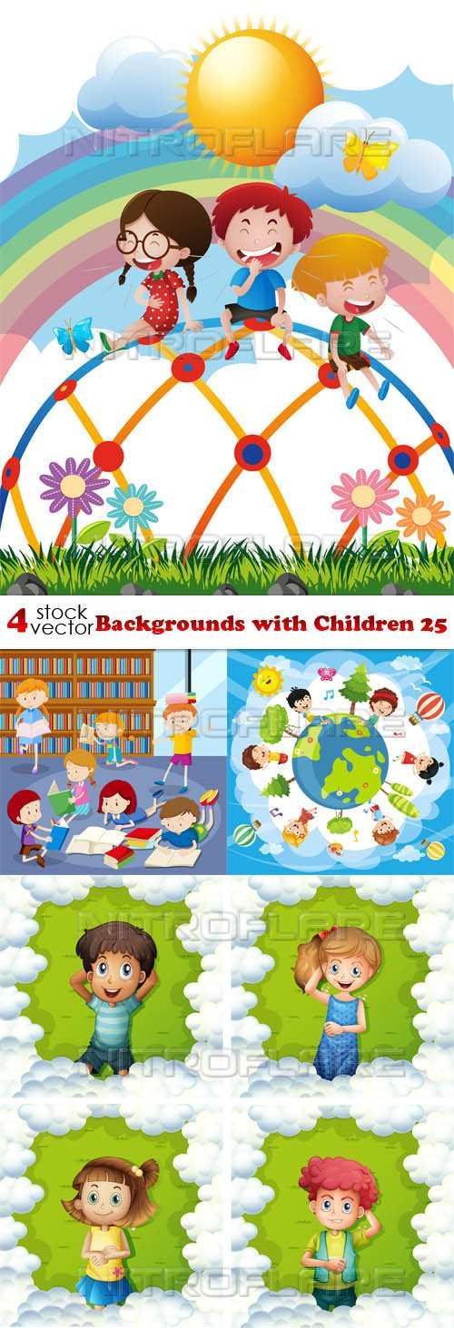 Vectors - Backgrounds with Children 25