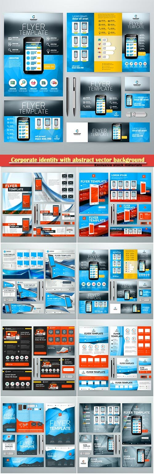 Corporate identity with abstract vector background, web banner, flyer, business card