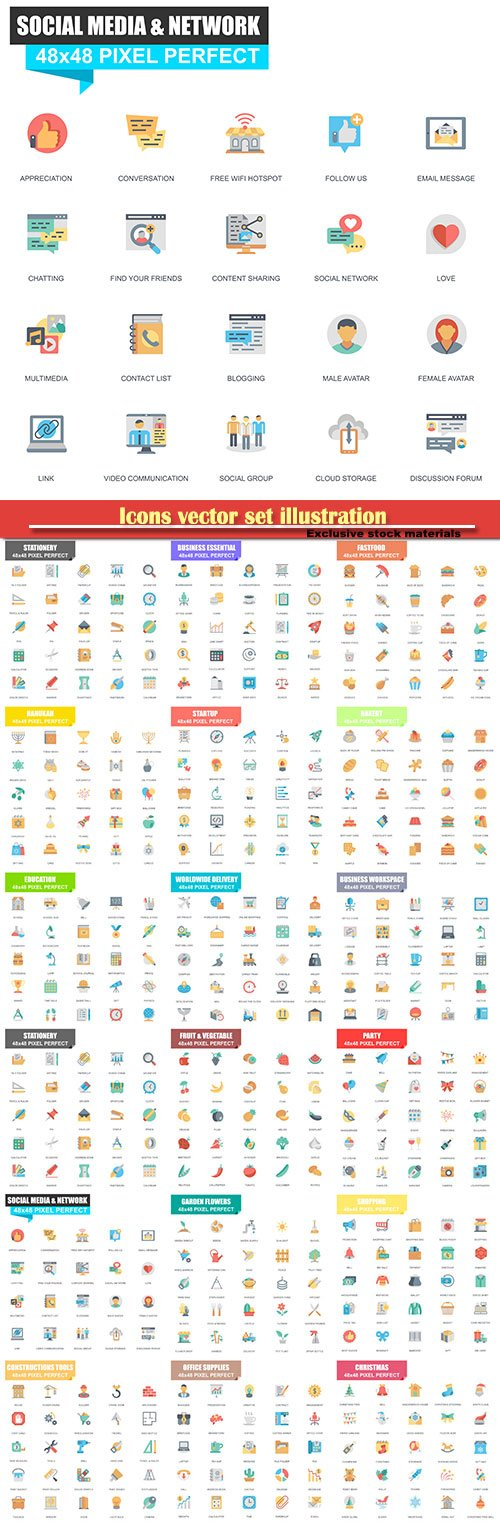 Icons vector set illustration