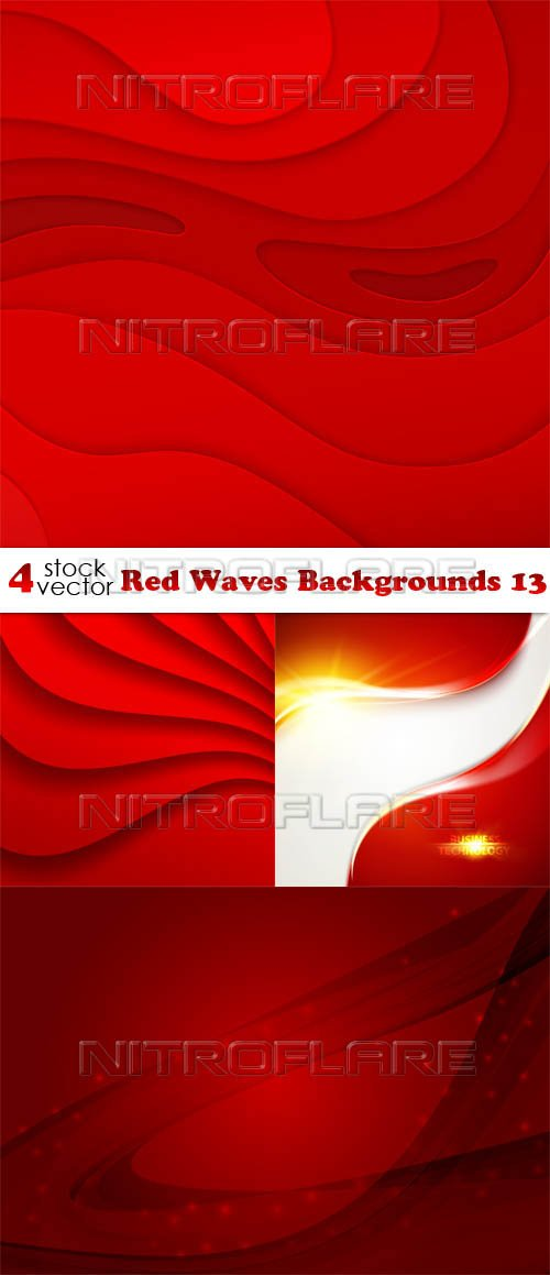 Vectors - Red Waves Backgrounds 13