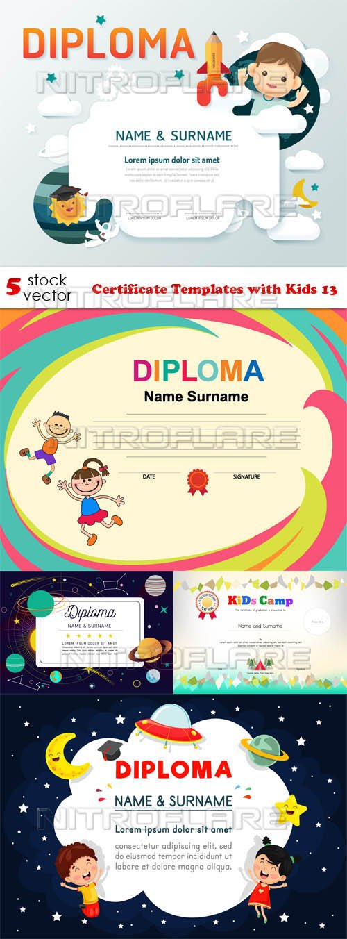 Vectors - Certificate Templates with Kids 13