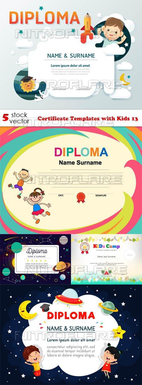 Vectors - Certificate Templates with Kids 13