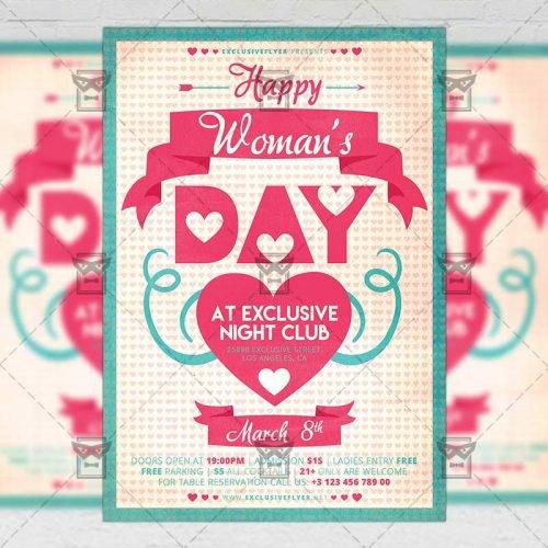 Seasonal A5 Flyer Template - Happy Woman's Day