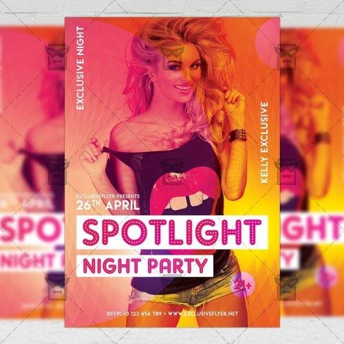 Club A5 Flyer Template - Spotlight Night Party