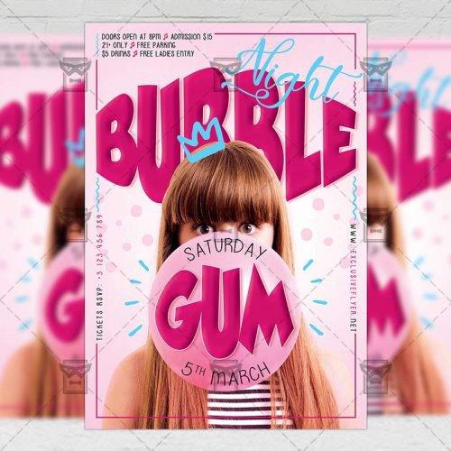 Club A5 Flyer Template - Bubblegum Night