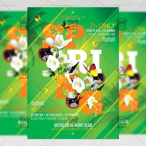 Seasonal A5 Flyer Template - Spring Bash