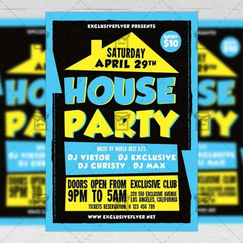 Club A5 Flyer Template - House Party