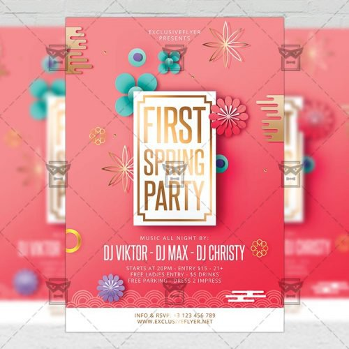 Seasonal A5 Flyer Template - First Spring Party