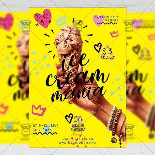 Food A5 Flyer Template - Ice Cream Mania