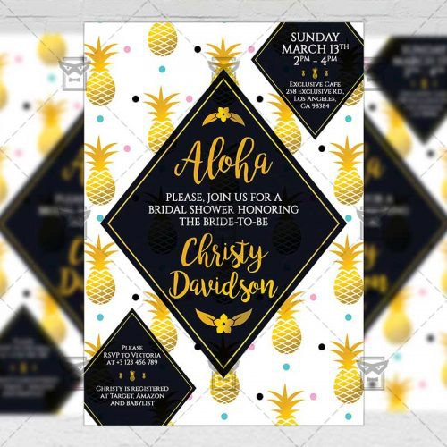 Invitation A5 Card Template - Bridal Shower