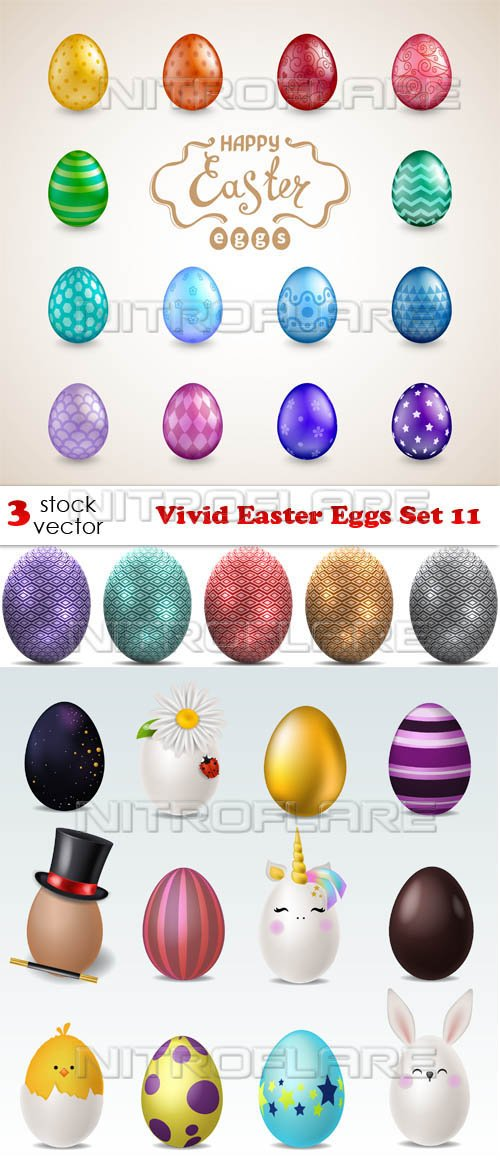 Vectors - Vivid Easter Eggs Set 11