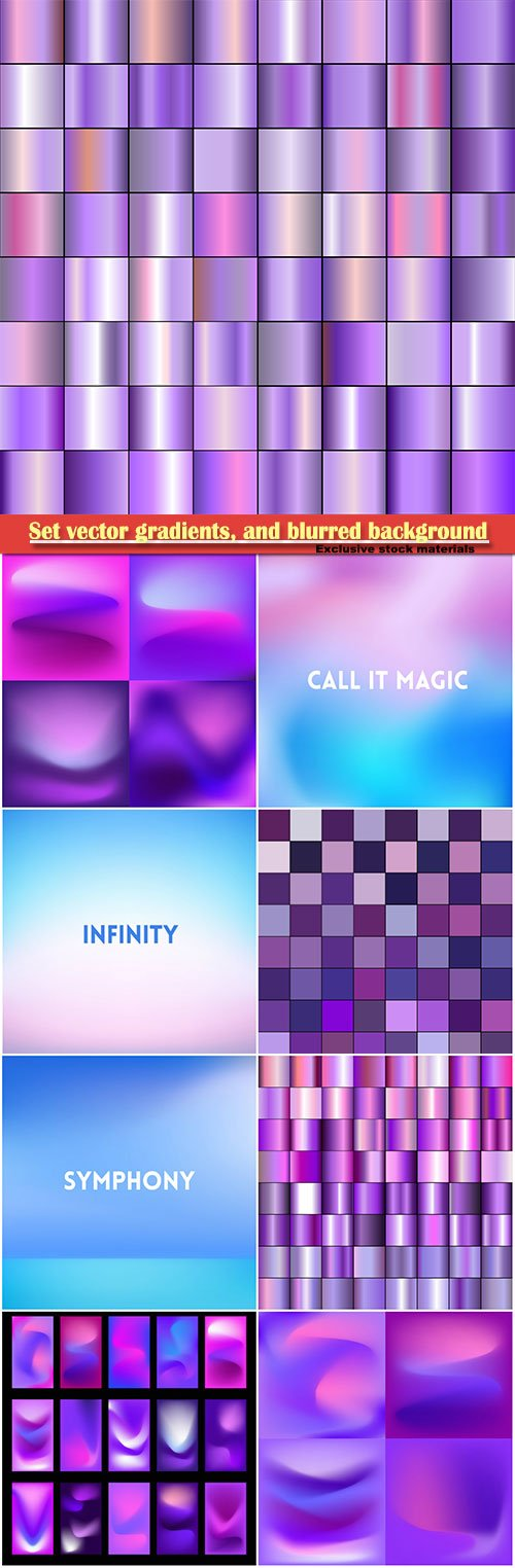 Set vector gradients, and blurred vector background