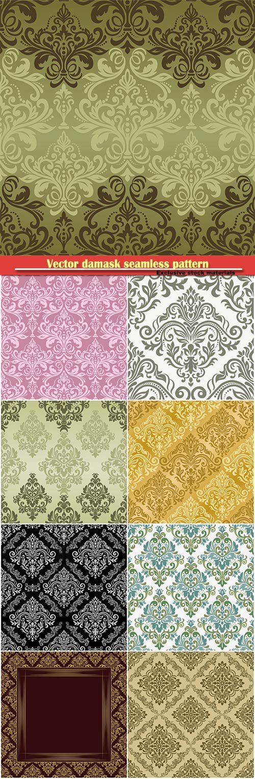Vector damask seamless pattern background, floral element