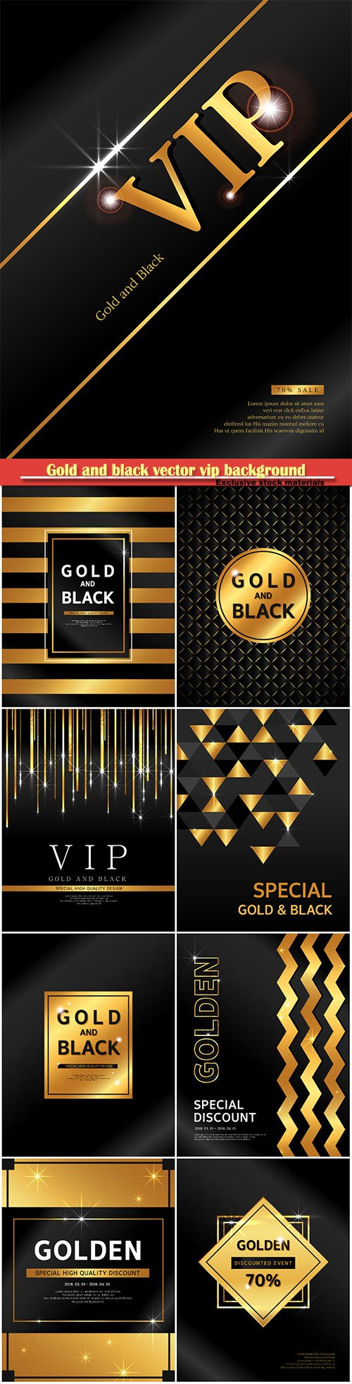 Gold and black vector vip background
