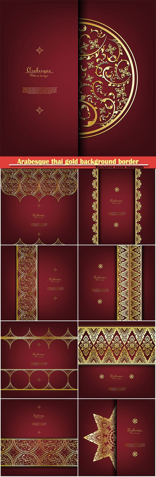 Arabesque thai gold background border vector