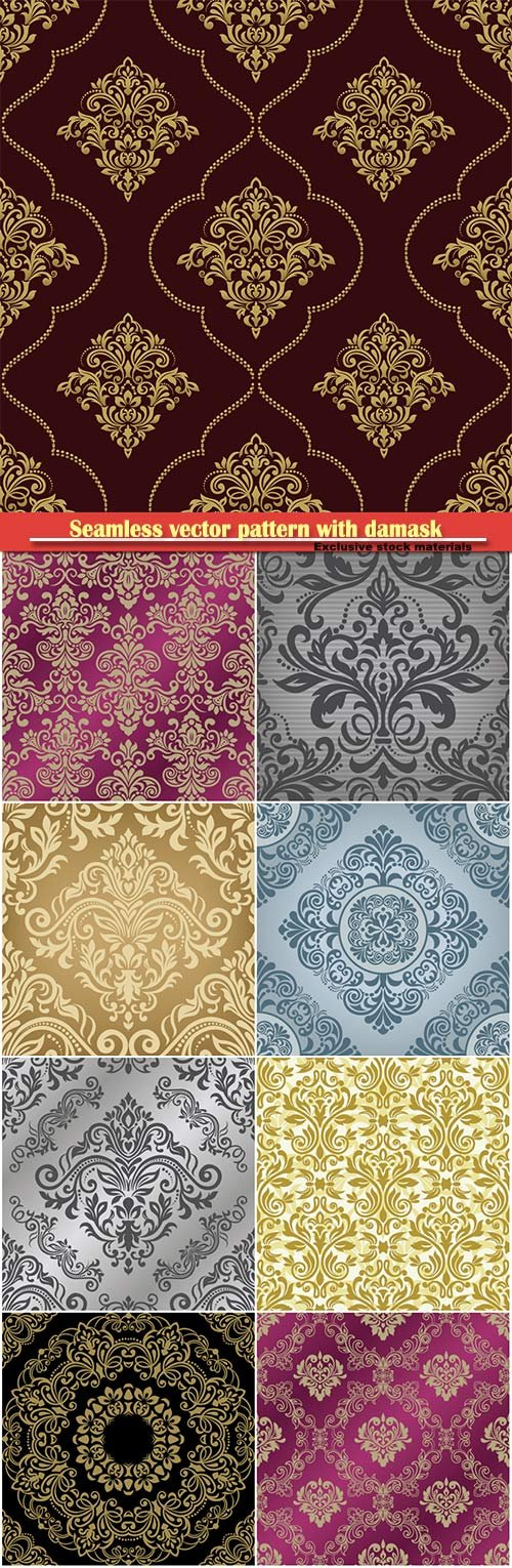 Seamless vector pattern with damask ornament