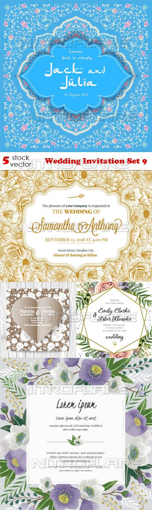 Vectors - Wedding Invitation Set 9