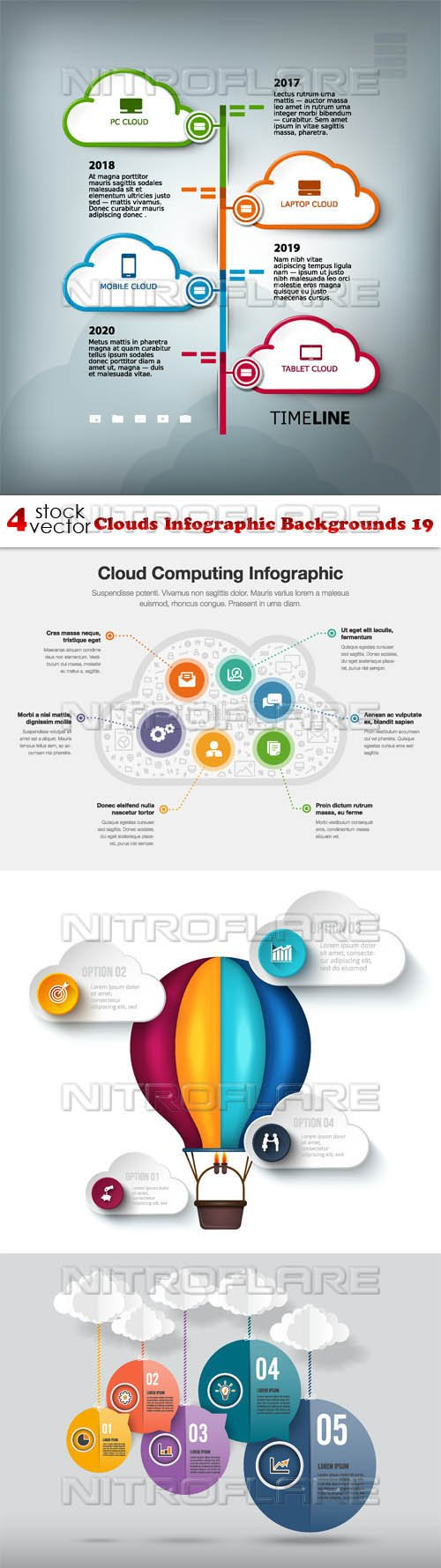 Vectors - Clouds Infographic Backgrounds 19