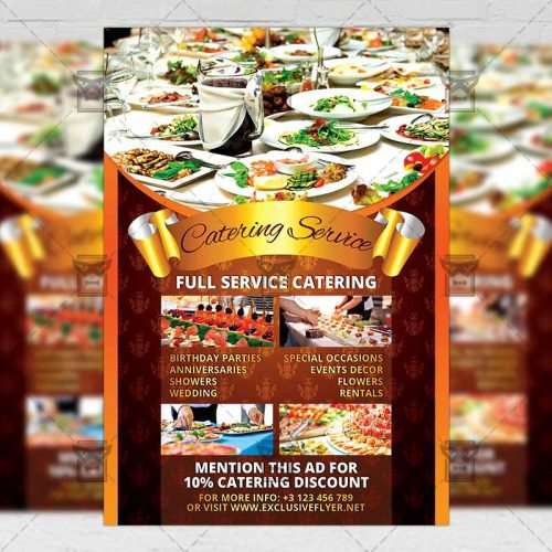 Food A5 Flyer Template - Catering Service