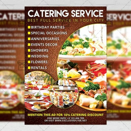 Food A5 Flyer Template - Catering