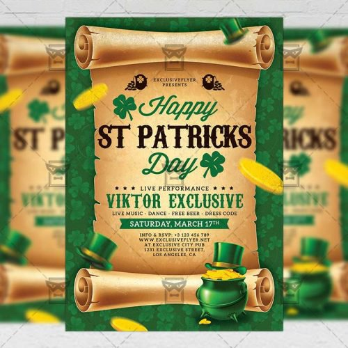 Seasonal A5 Flyer Template - Patricks Day Celebration
