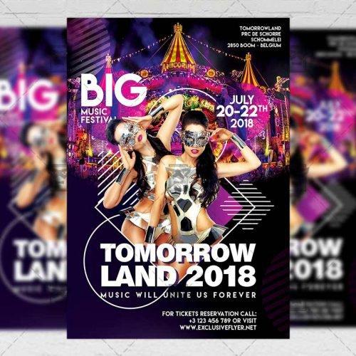 Club A5 Flyer Template - Tomorrowland Festival