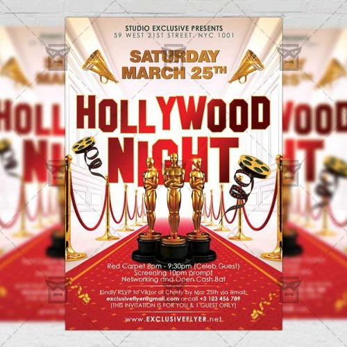 Club A5 Flyer Template - Hollywood Night