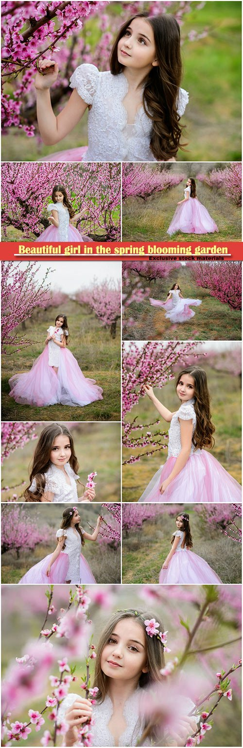 Beautiful girl in the spring blooming garden