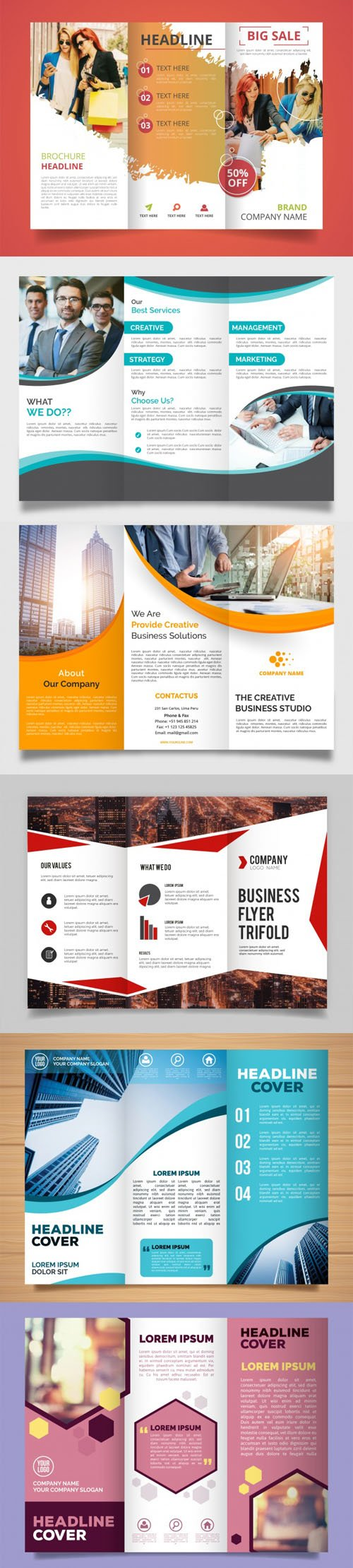6 Modern Creative Trifold Brochure Templates in Vector