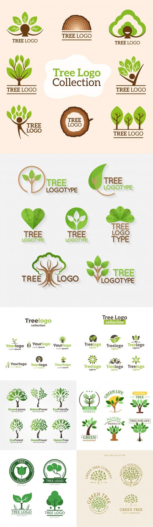 47 Tree Logos Collection in Vector