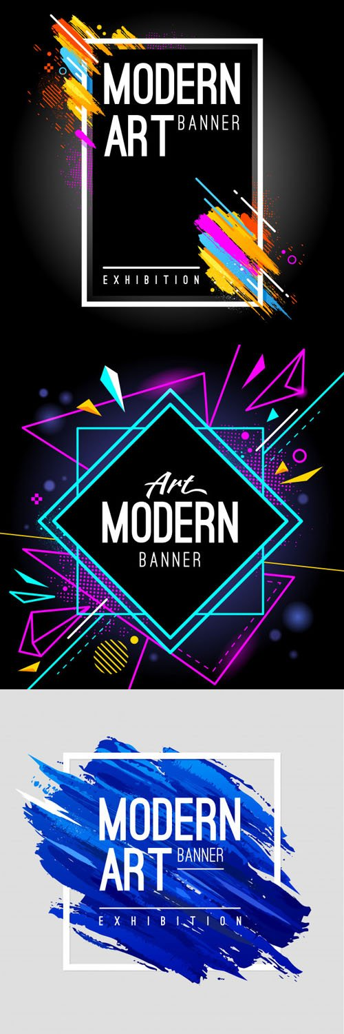 3 Modern Art Banners in Vector