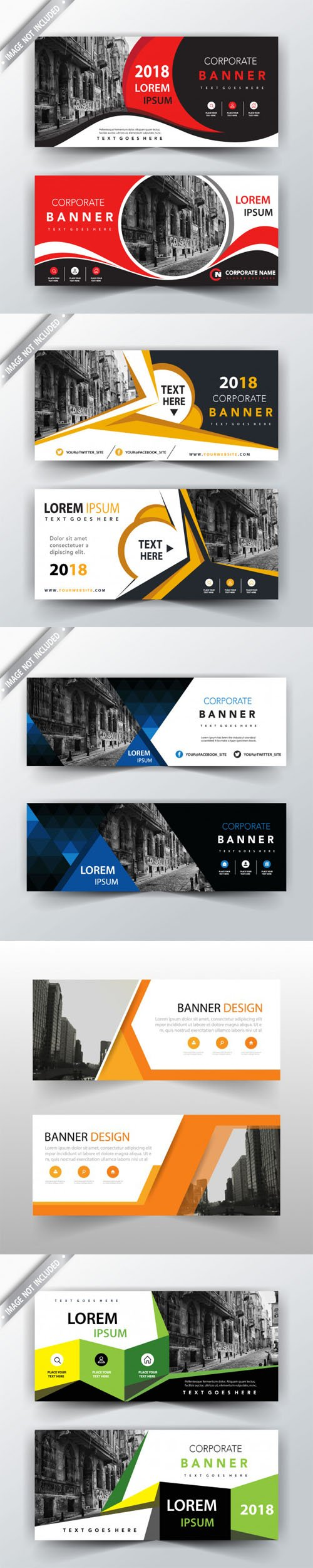 5 Headers illustration Design in Vector