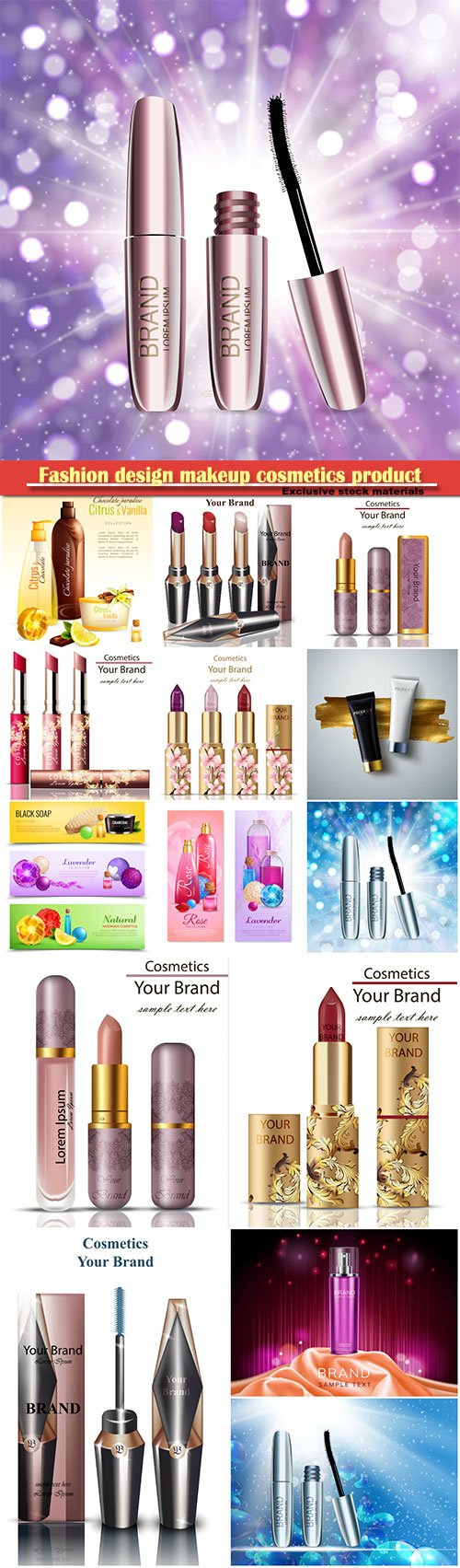 Fashion design makeup cosmetics product, 3D realistic vector illustration